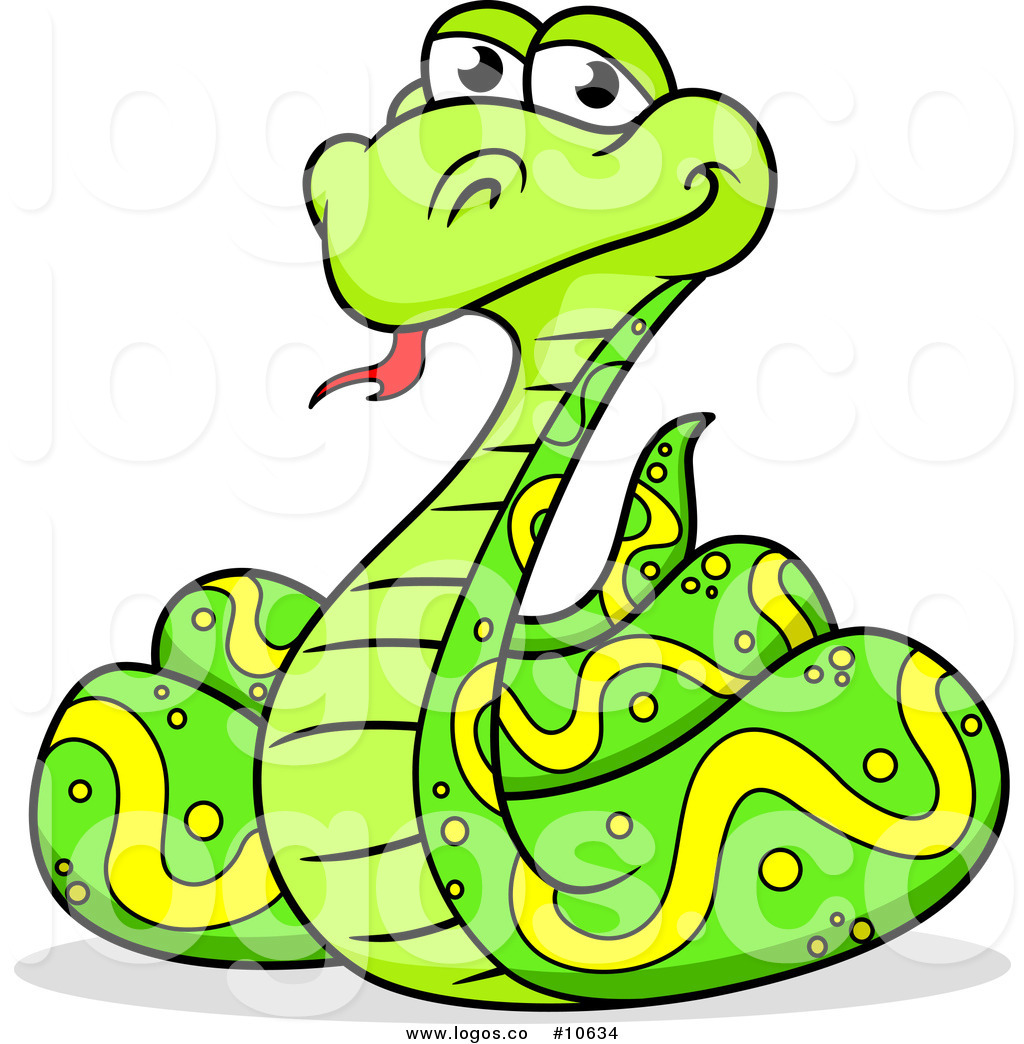 1024x1044 Royalty Free Clip Art Vector Logo of a Happy Coiled Green Python