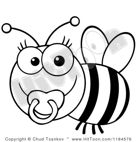 450x470 Cute Bee Black And White Clipart