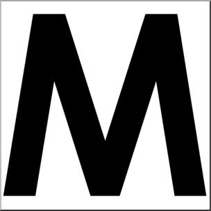 304x304 Clip Art Alphabet Set 00 M Upper Case Bw I Abcteach