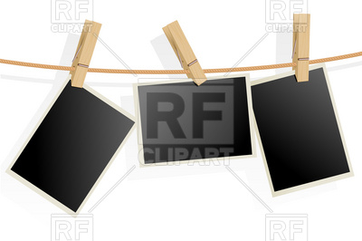 400x266 Three Photo Frames On Clothesline Royalty Free Vector Clip Art