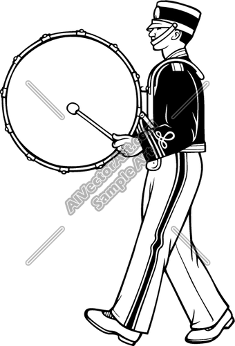 340x500 Marching Band Bass Drum Snare Sketch Clipart