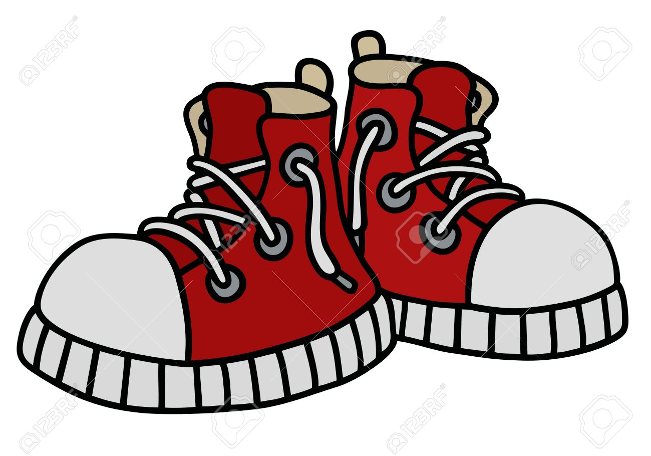 1300x910 Hand Drawing Of A Funny Red Sneakers Royalty Free Cliparts