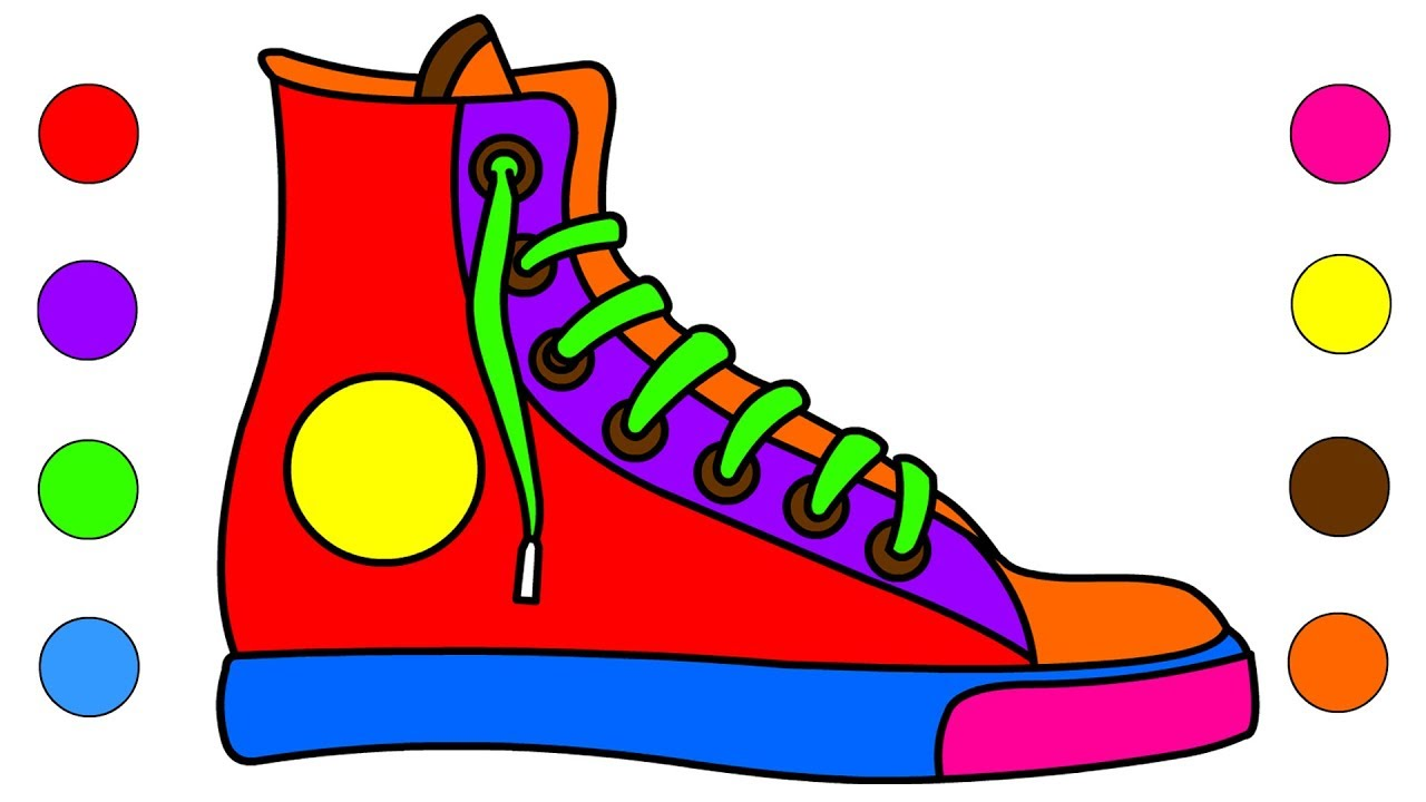 1280x720 How To Draw Sneakers Shoes Coloring Pages For Kids Children