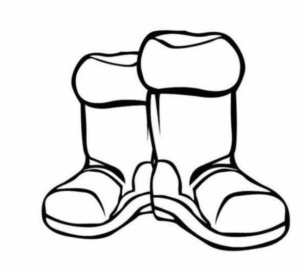 600x523 Boots Winter Clothes Coloring Page