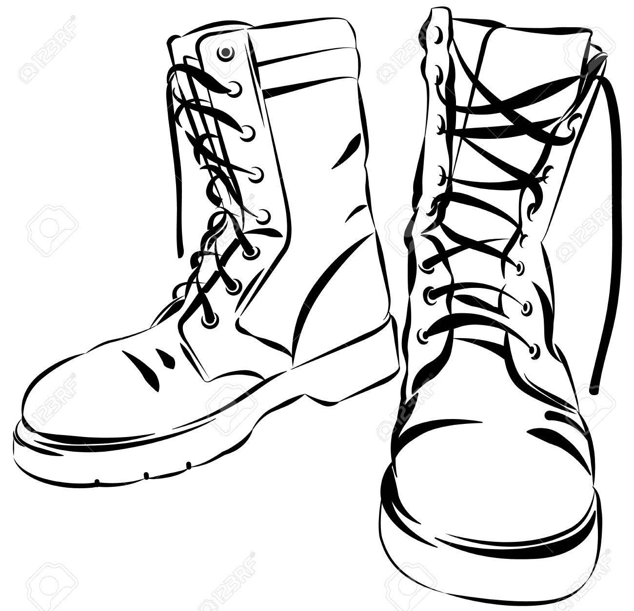 1300x1254 Old Army Boots. Military Leather Worn Boots. Vector Graphic