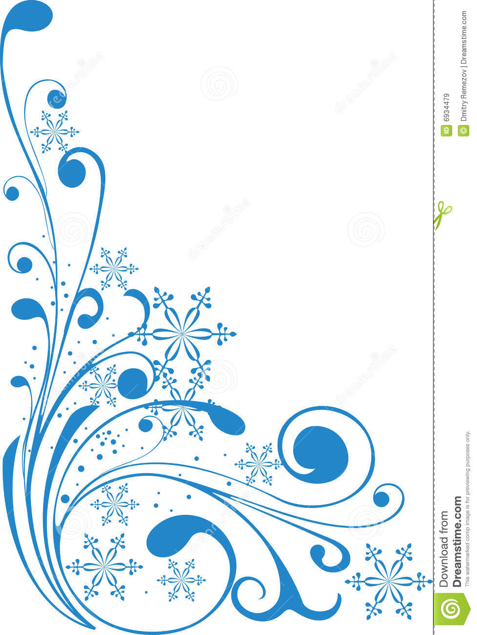 977x1300 Snowflake Clipart Corner Border