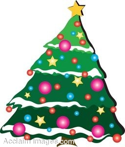 256x300 Clip Art Of A Stylized Christmas Tree