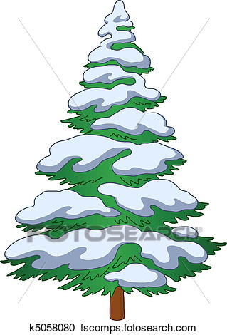 319x470 Clipart Of Fur Tree With Snow K5058080