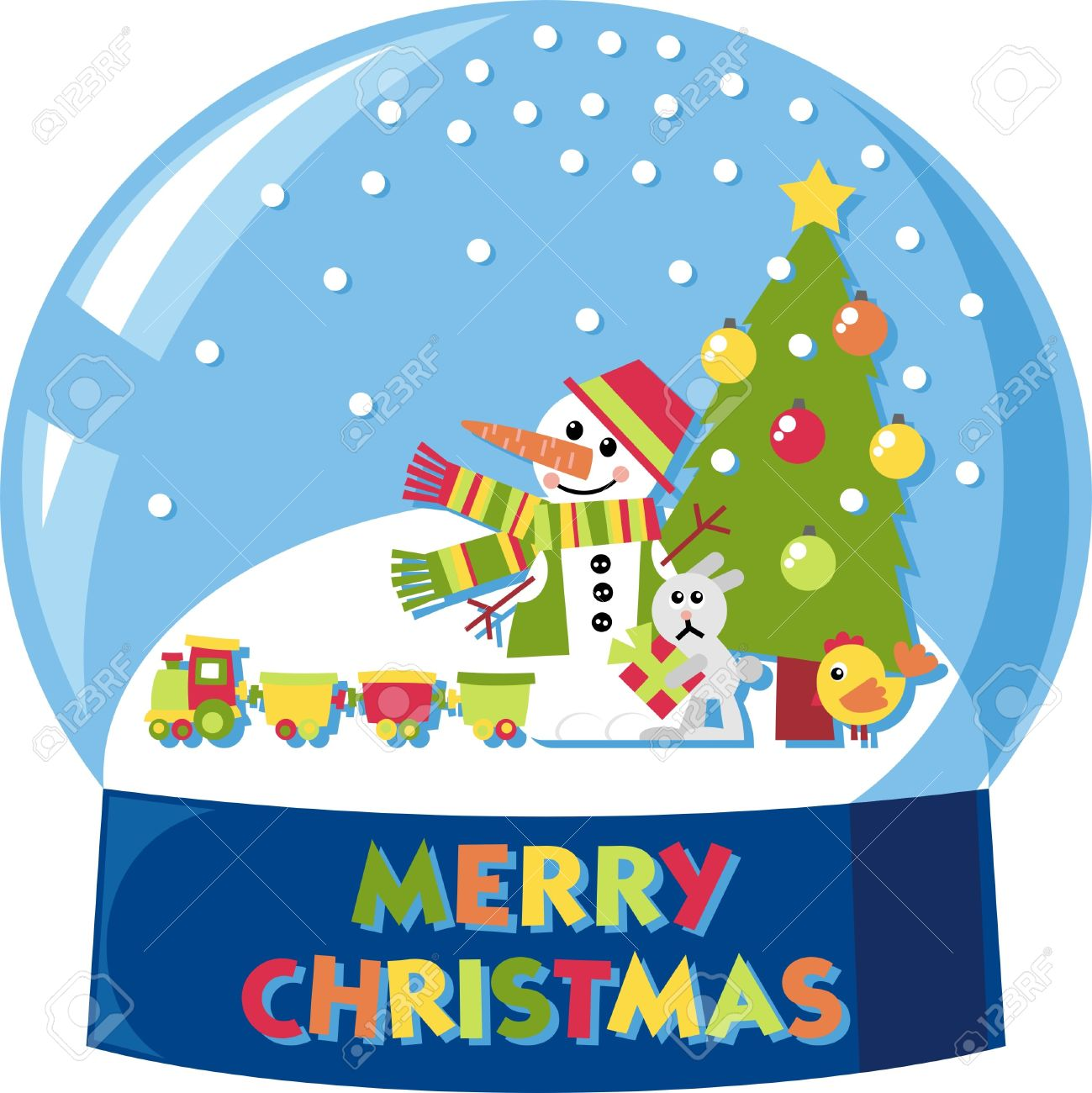 1299x1300 Vector Snow Globe With A Snowman And Many Toys Royalty Free