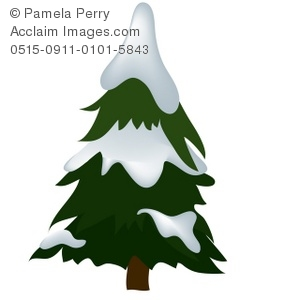 300x300 Art Illustration Of A Snow Covered Pine Tree
