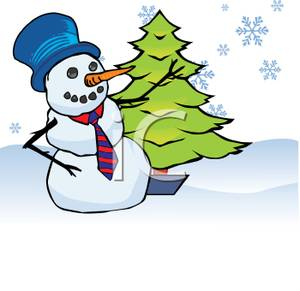 300x291 Art Image A Snowman Standing Next To A Christmas Tree In The Snow