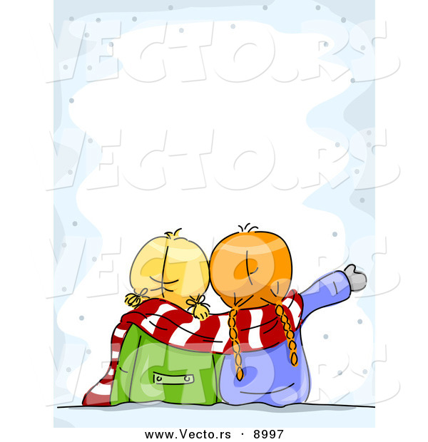 600x620 Cartoon Vector Of Two Girls Looking