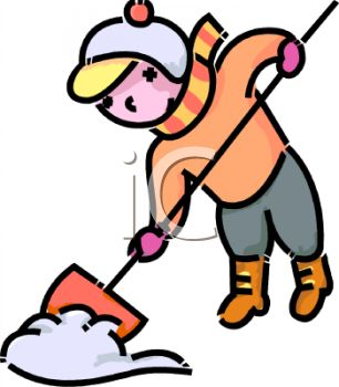 306x350 Royalty Free Clip Art Image Cartoon Of A Boy Shovelling Snow