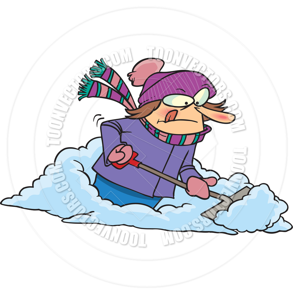 940x940 Cartoon Woman Shoveling Snow By Ron Leishman Toon Vectors Eps