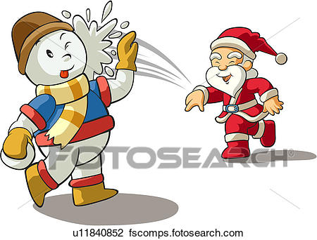 450x342 Clipart Of People, Winter, Snow, Snowman, Santaclaus, Christmas