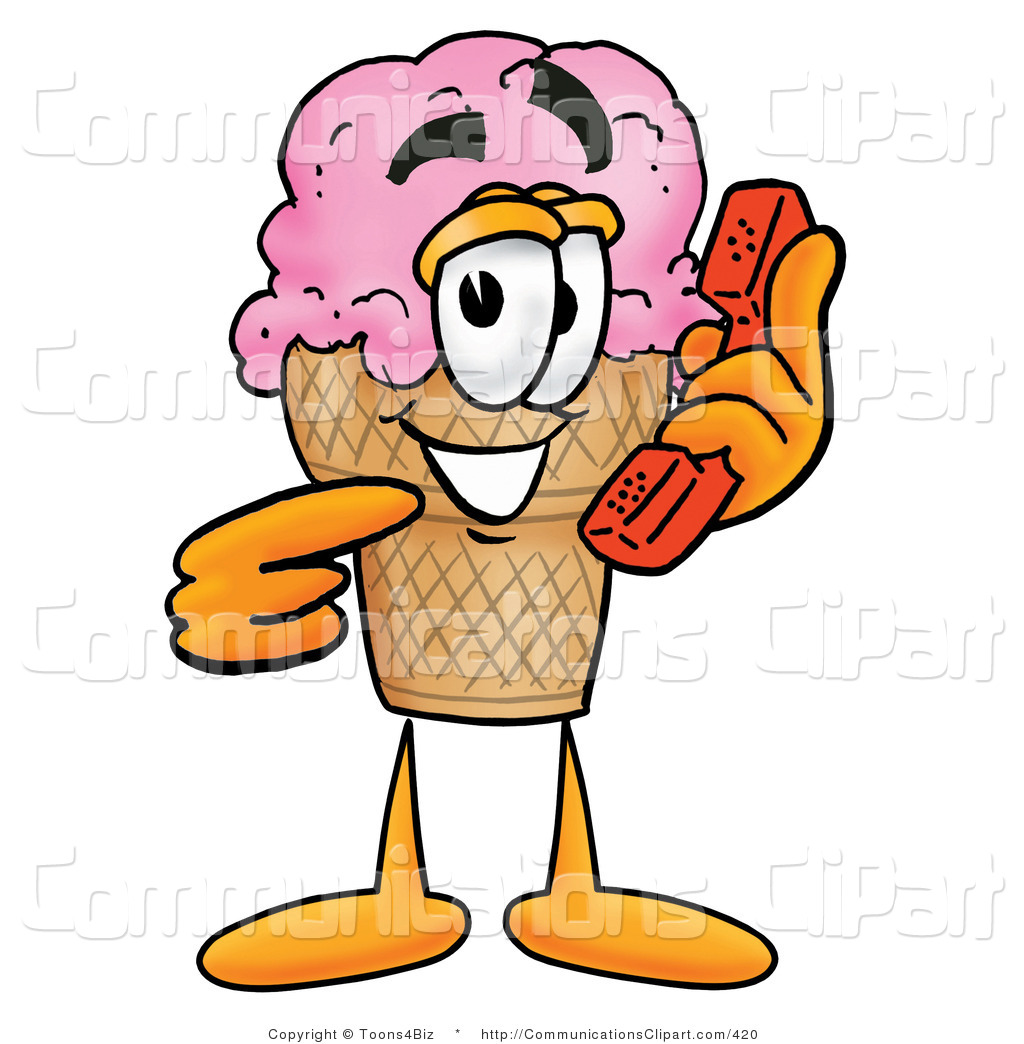 1024x1044 Communication Clipart Of A Strawberry Ice Cream Cone Mascot