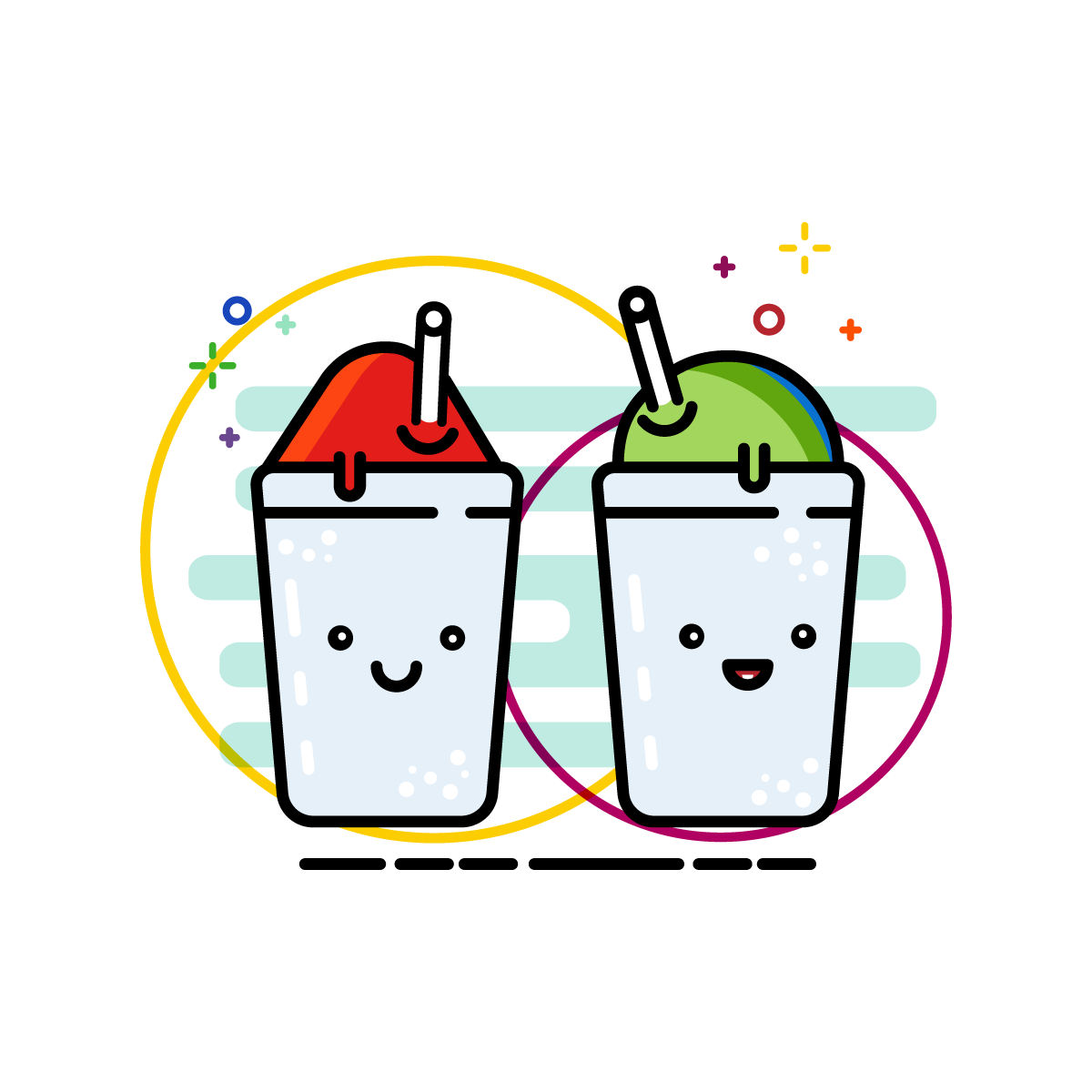 1200x1200 Snowball Shaved Ice Snow Cone Illustration Icons Kawaii