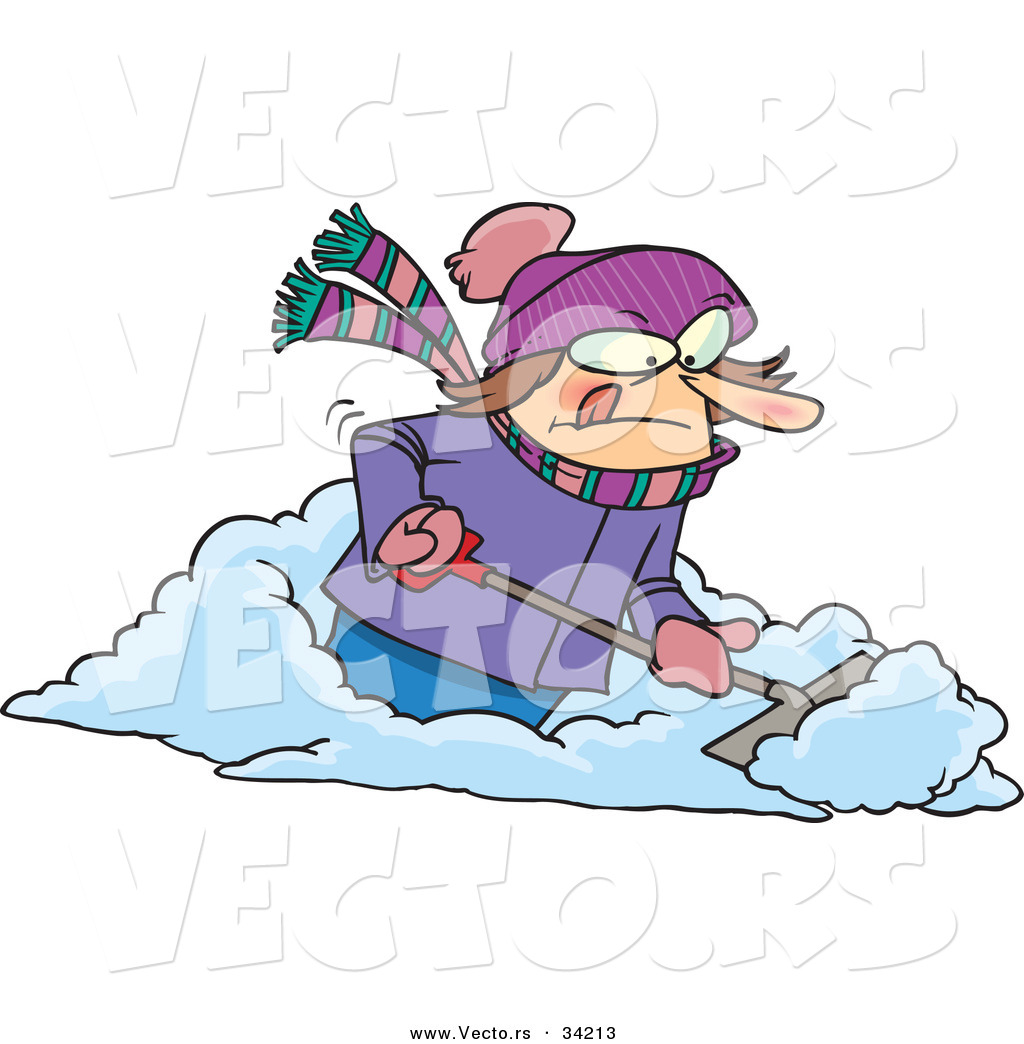 1024x1044 Vector Of A Mad Cartoon Woman Shoveling Snow By Toonaday