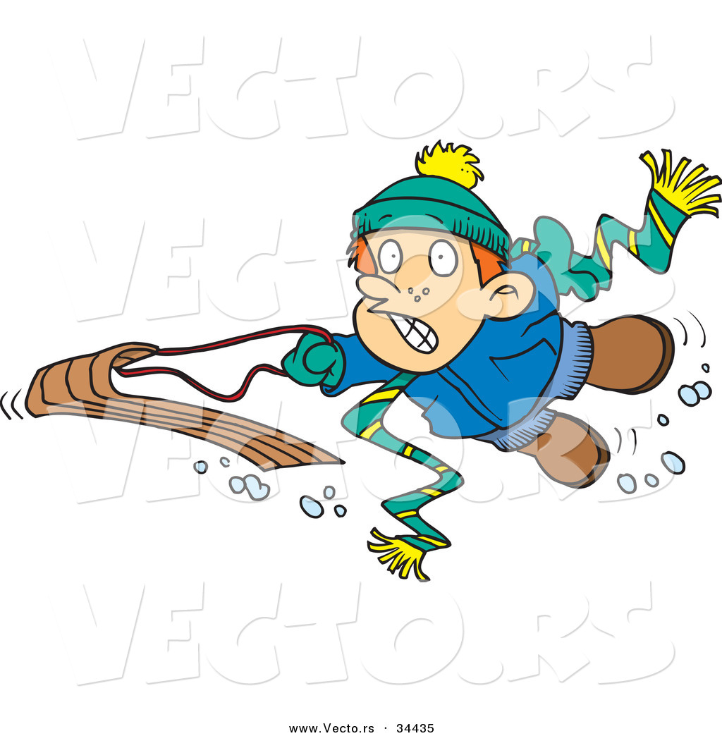 1024x1044 Vector Of A Scared Cartoon Boy Falling Off His Snow Sled By