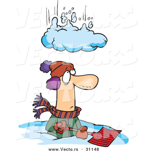 600x620 Vector Of A Pile Of Snow Falling On A Man Trying To Shovel Snow By