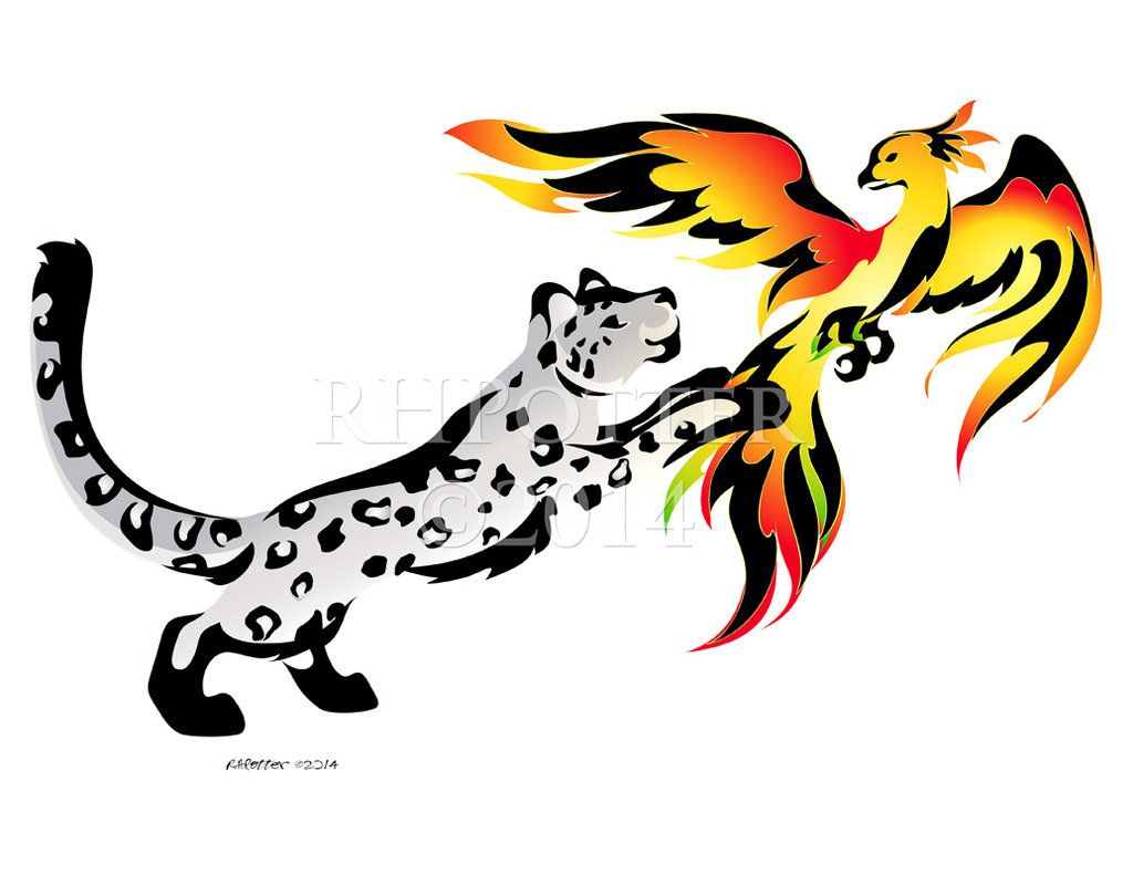 1024x791 Snow Leopard And Phoenix By Rhpotter