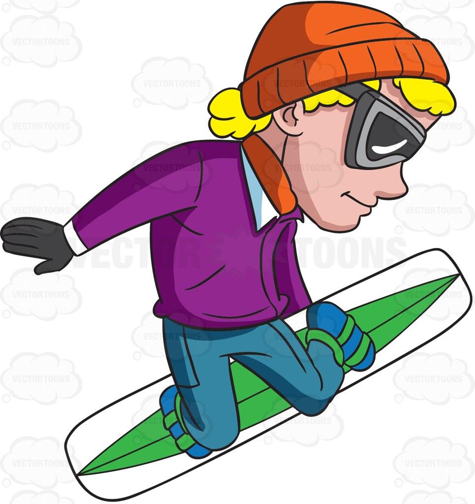 965x1024 A Snowboarder On Mid Flight Cartoon Clipart