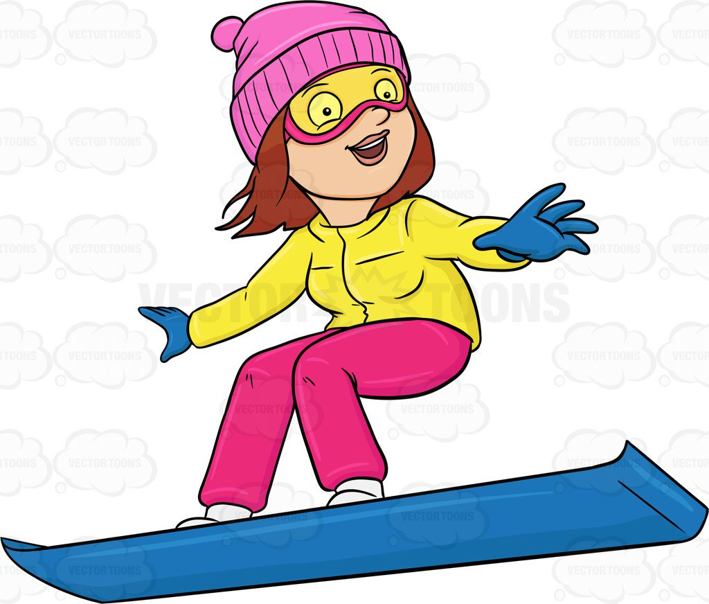 1024x872 A Woman Basking In Merriment While Snowboarding Cartoon Clipart