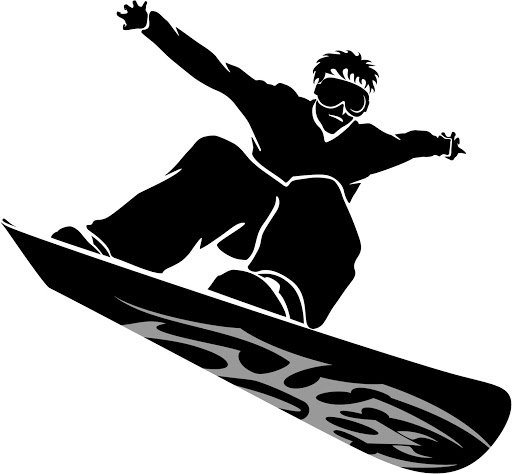512x474 Snowboarding Clipart Black And White