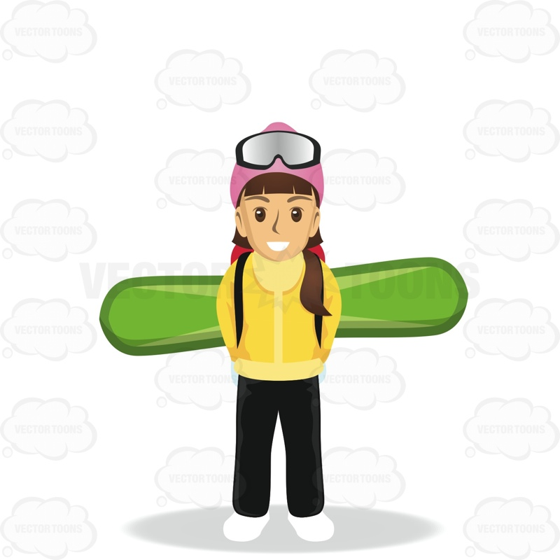 800x800 Female Tourist Carrying A Snowboard On Her Back Cartoon Clipart