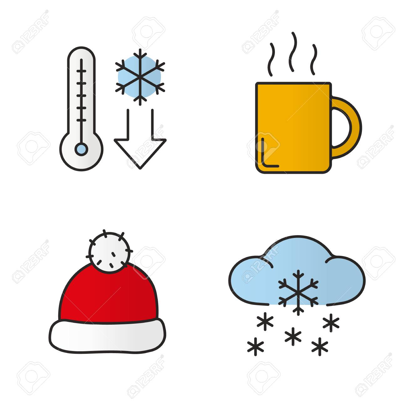 1300x1300 Winter Season Color Icons Set. Temperature Falling, Hot Steaming
