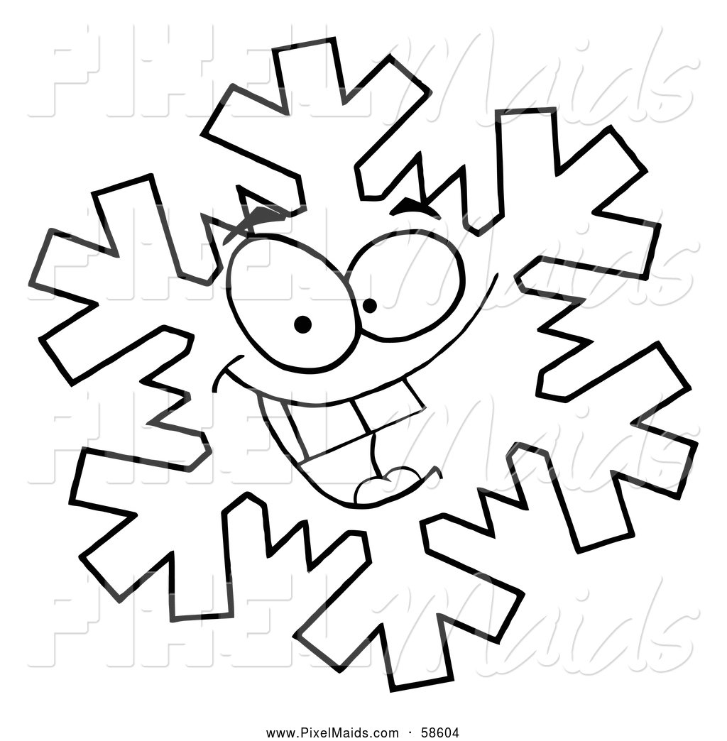 1024x1044 Clipart Of A Black And White Grinning Snowflake By Hit Toon