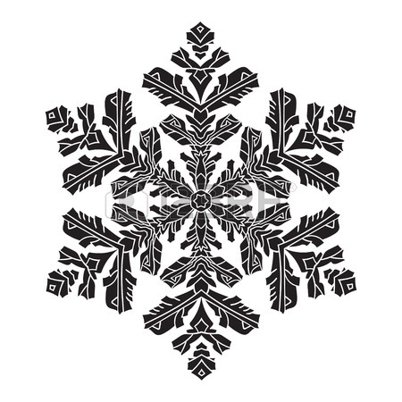 450x450 Hand Drawn Realistic Silhouette Snowflake. Black On White