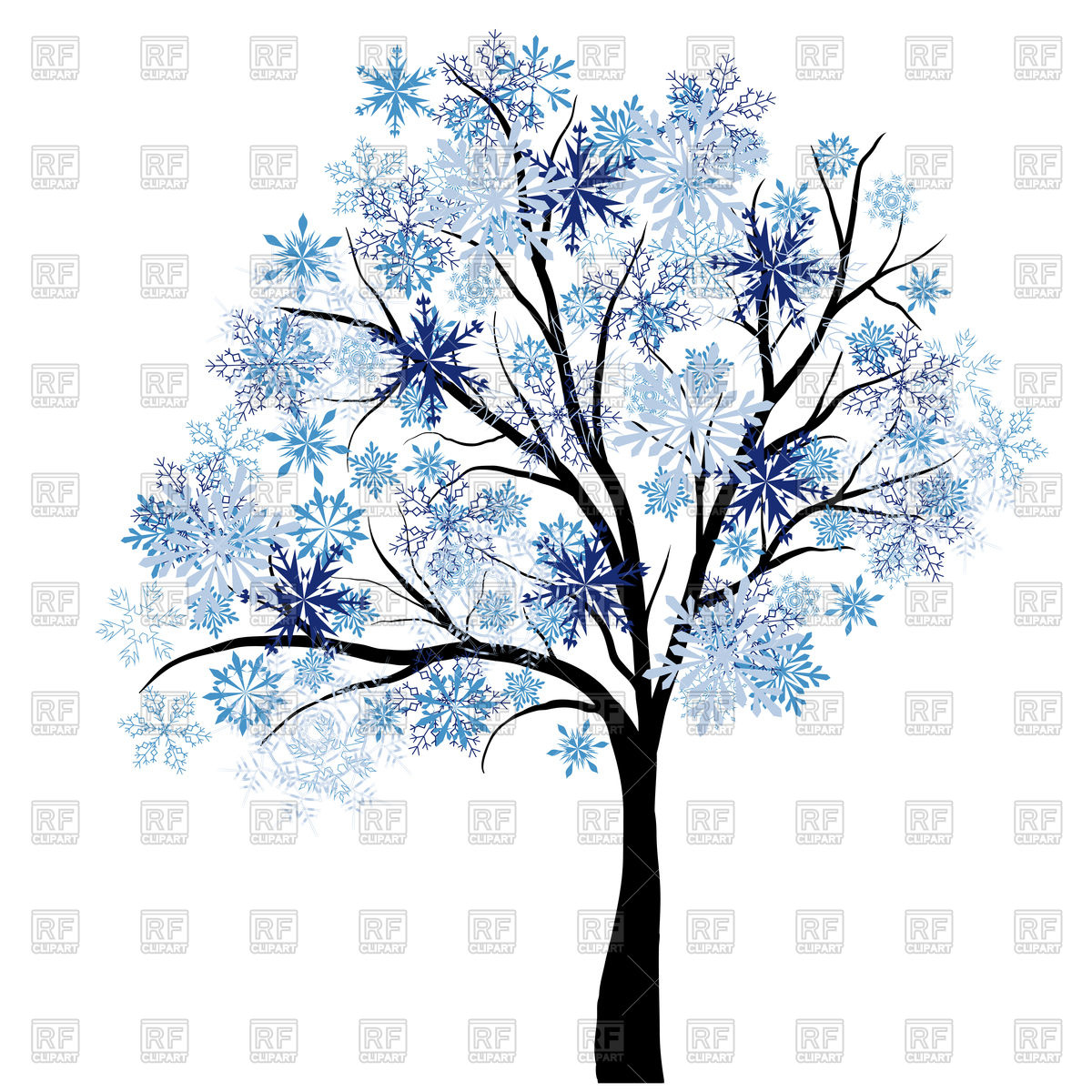 1200x1200 White Tree On Winter Background Royalty Free Vector Clip Art Image