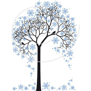 300x300 Winter Tree With Snowflakes And Birds, Illustration, Seasonal