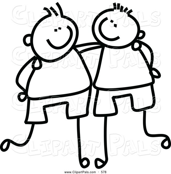 588x599 Friends Clipart Black And White