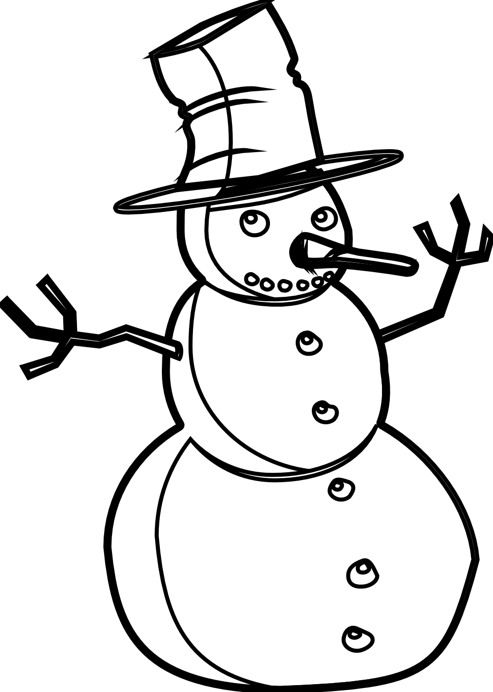999x1401 Snowman Clipart Black And White