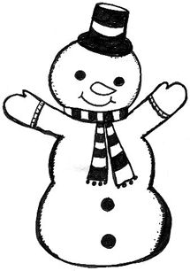 215x306 Black And White Snowman Clipart – 101 Clip Art