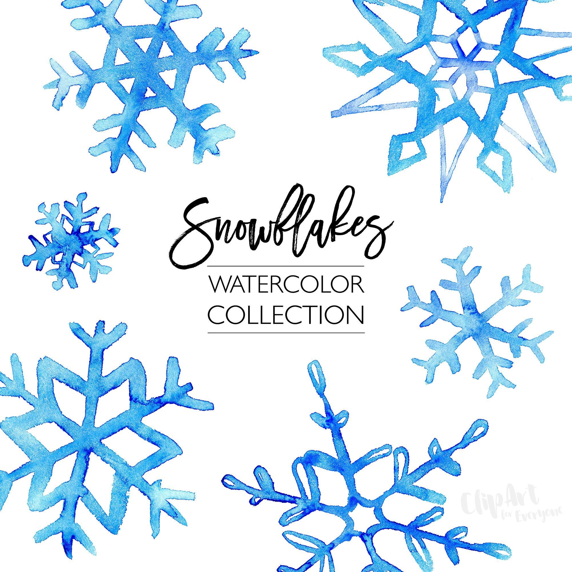2000x2000 Watercolor Snowflake Clip Art, Blue Winter Watercolor Clipart