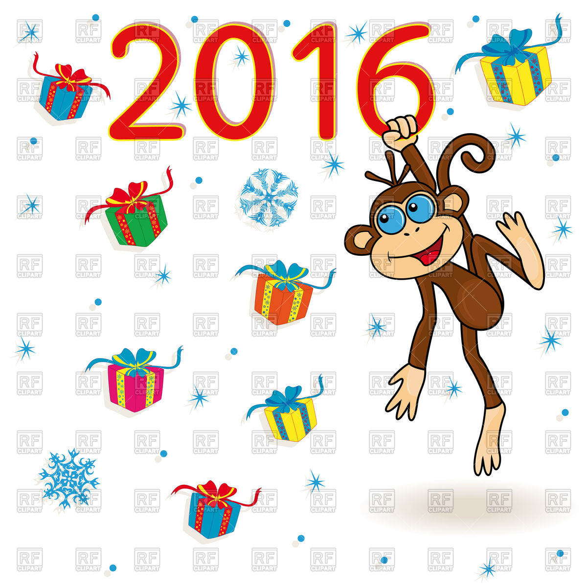 1200x1200 Background with monkey, many gifts and snowflakes