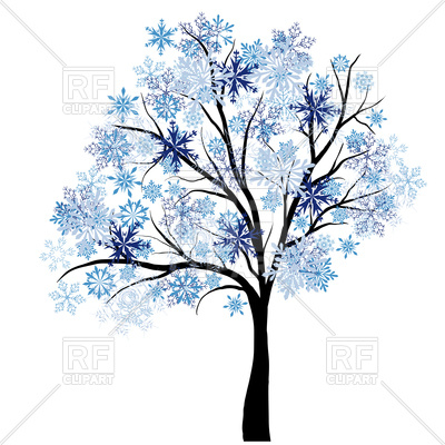 400x400 Beautiful winter tree with snowflakes leaves Royalty Free Vector