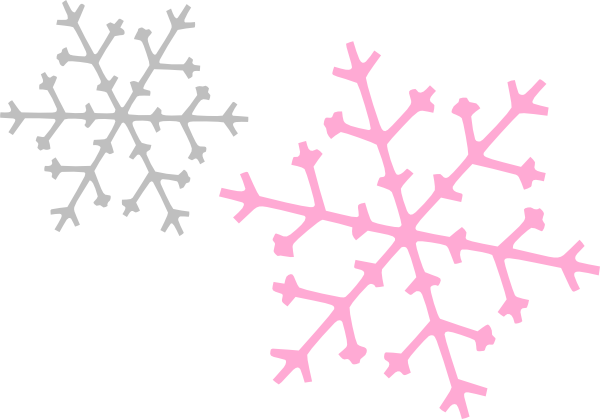 600x419 Ornament Snowflakes Pink Gray Clip Art