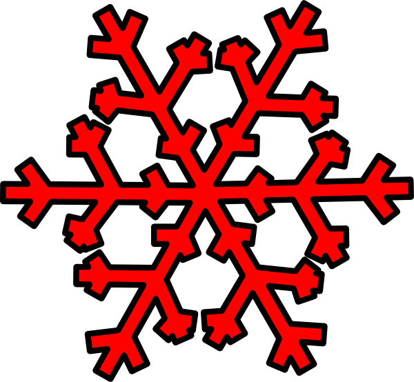 600x554 Red Snowflake Clipart Background