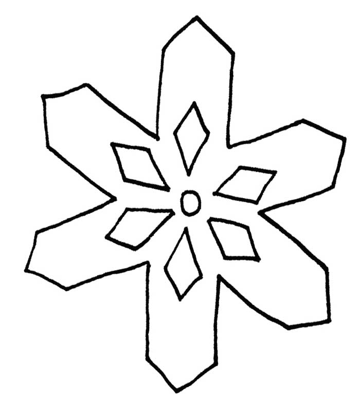 700x771 snowflake with a simple pattern coloring page