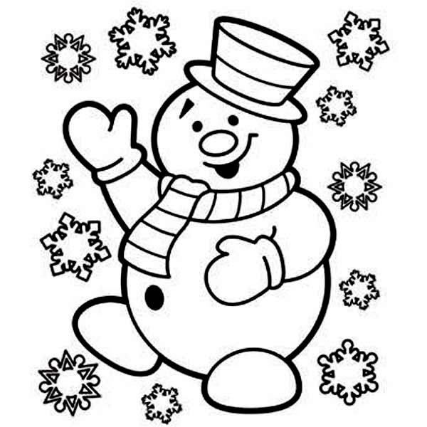 600x600 Snowman Coloring Page