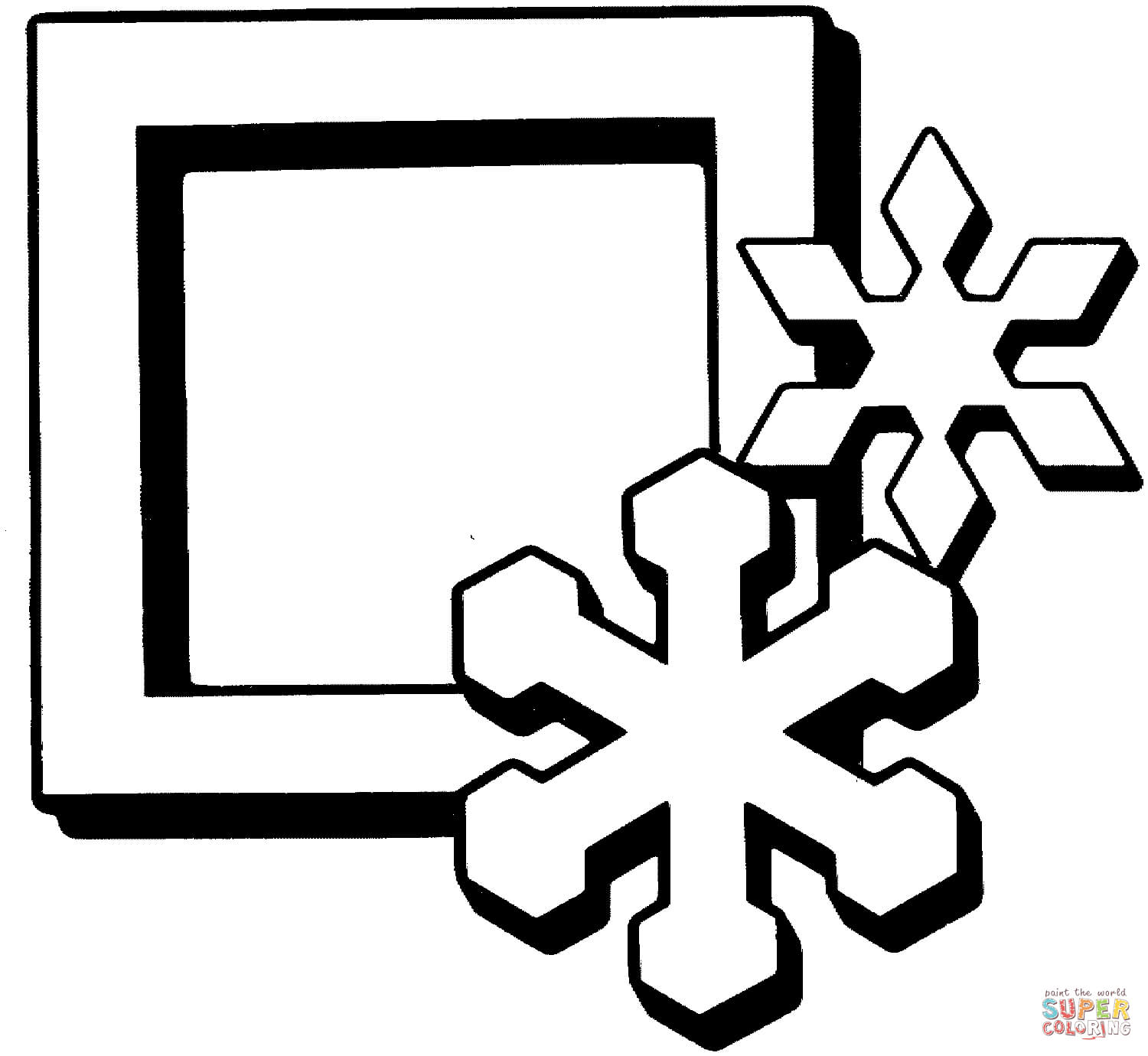1500x1380 Square With Snowflakes Coloring Page Free Printable Coloring Pages