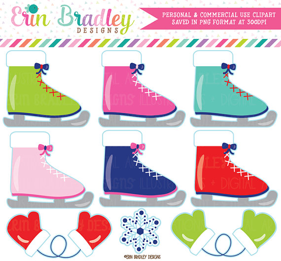 570x529 Ice Skating Clipart Commercial Use Digital Clip Art Ice Skates