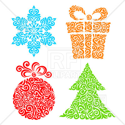 400x400 Ornamental New Year Symbols Ball, Snowflake, Fir And Gift Box
