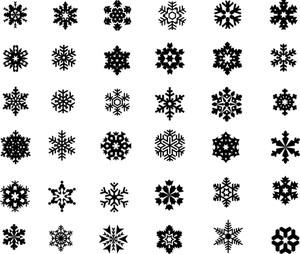 300x254 Black Snowflakes Set Royalty Free Stock Image