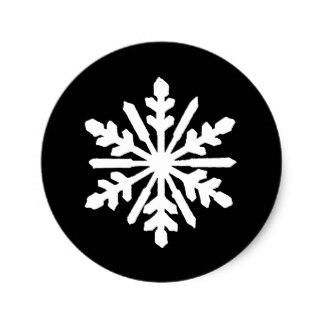 324x324 Black White Christmas Snowflakes Stickers Zazzle