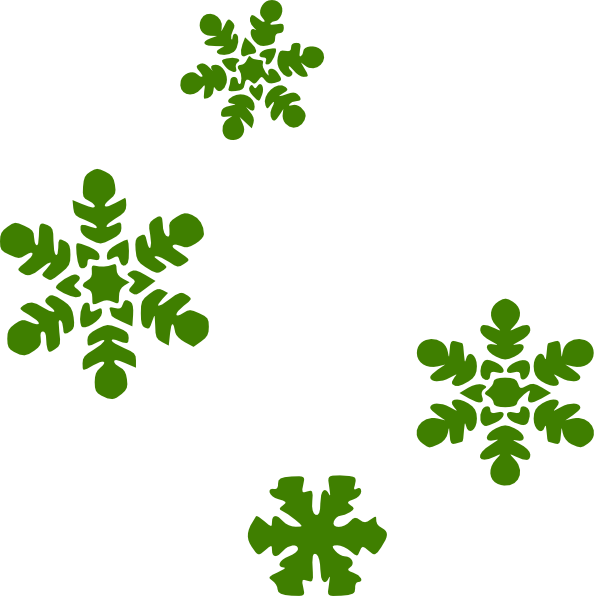 594x596 Green Snow Flakes Clip Art